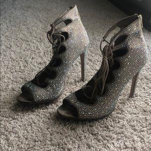 STEVE MADDEN crystal lace up Heels